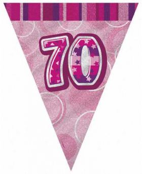 Pink Glitz 70 Party Flag Banner 9ft