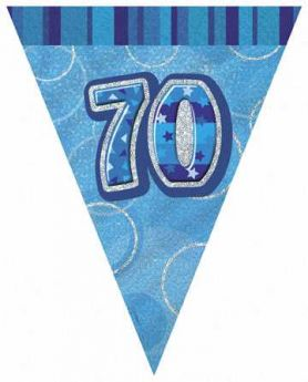Blue Glitz 70 Party Flag Banner 9ft