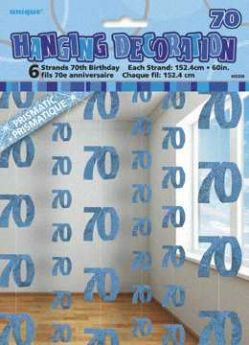 Blue Glitz 70 Hanging String Party Decoration (6 Strings)
