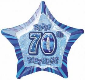 Blue Glitz Star 70 Foil Party Balloon