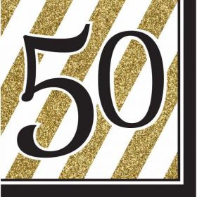 Black & Gold Age 50 Napkins pk16