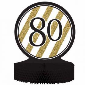 Black & Gold Age 80 Centrepiece