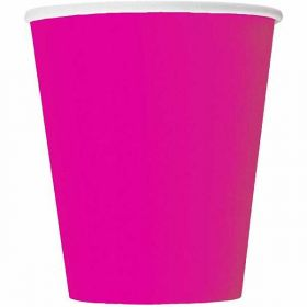 Neon Pink Paper Cups pk14