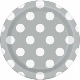 "Silver Polka Paper Plates 7"" pk 8"