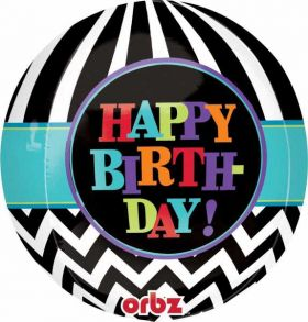 Happy Birthday Orbz Foil Balloon