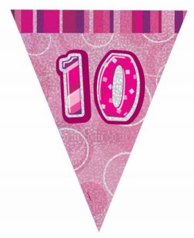 Pink Glitz 10 Party Flag Banner 9 ft