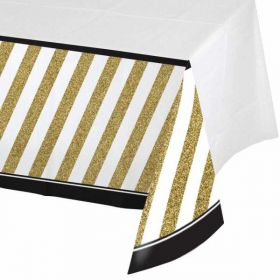 Black & Gold Plastic Tablecover