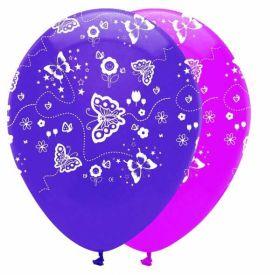 Butterflies Pink & Purple Mix Latex Balloons pk6