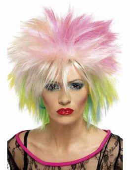 80's Attitude Wig, Blonde & Neon