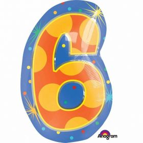 Confetti Dots Number 6 Junior Shape Foil Balloon