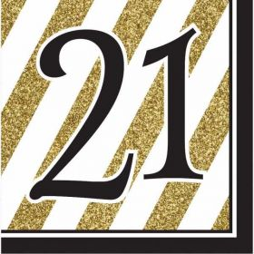Black & Gold Age 21 Napkins pk16
