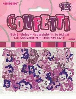 Pink Glitz 13 Party Confetti