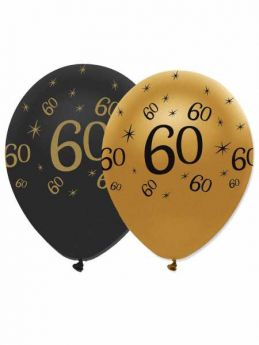 60th Gold and Black Balloons pk6