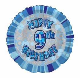 Blue Glitz Happy 9th Birthday Foil Balloon