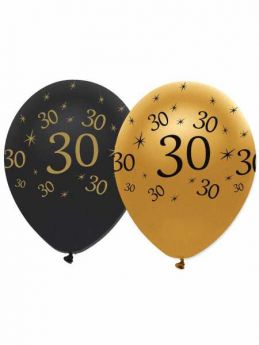 30th Gold and Black Balloons pk6