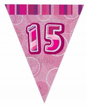 Pink Glitz 15 Party Flag Banner 9 ft