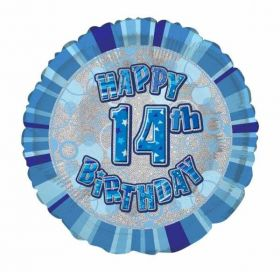 Blue Glitz Happy 14th Birthday Foil Balloon