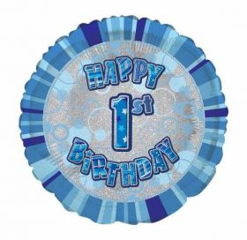 1st Birthday Glitz Blue Foil Balloon