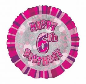 Pink Glitz Happy 6th Birthday Prismatic Foil Balloon 18in