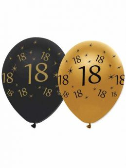 18th Gold and Black Balloons pk6