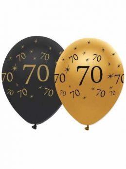 70th Gold and Black Balloons pk6