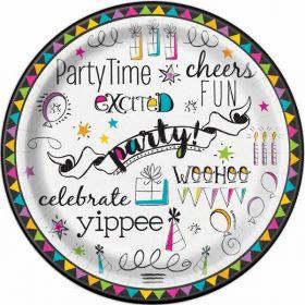 """Doodle 7"""" Party Plates pk8"""