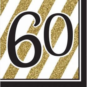 Black & Gold Age 60 Napkins pk16