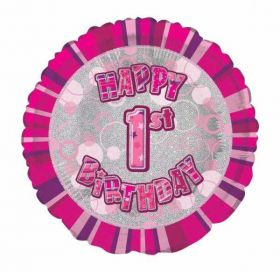1st Birthday Glitz Pink Foil Balloon