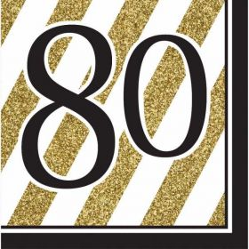 Black & Gold Age 80 Napkins pk16
