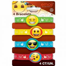 Emoji Stretchy Bracelets, pk4