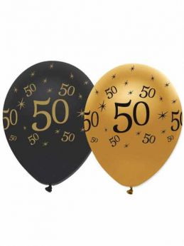 50th Gold and Black Balloons pk6