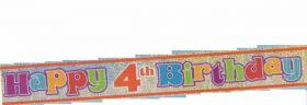 Happy 4th Birthday Banner