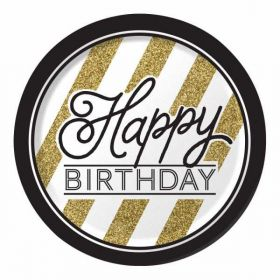 Black & Gold Happy Birthday Plates pk8