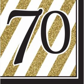 Black & Gold Age 70 Napkins pk16