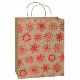 Large Kraft Paper Red Snowflakes Holiday Gift Bag