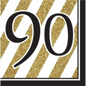 Black & Gold Age 90 Napkins pk16