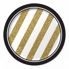 Black & Gold Plates pk8
