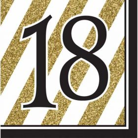 Black & Gold Age 18 Napkins pk16