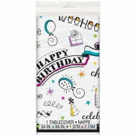 Doodle Birthday Plastic Tablecover