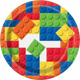 "Building Blocks 7"" Party Plates pk8"