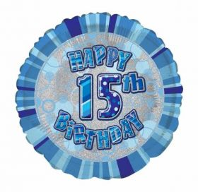 Blue Glitz Happy 15th Birthday Foil Balloon