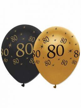 80th Gold and Black Balloons pk6