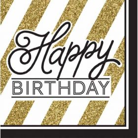Happy Birthday Black & Gold Napkins pk16