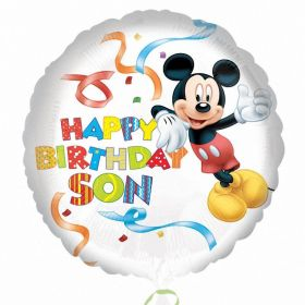 Mickey Mouse Happy Birthday Son Standard HX Foil Balloon