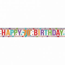 Multi Colour 70th Birthday Holographic Foil Banner 2.7m