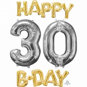 """Happy 30 B-Day"" Phrase & Number Bunch Foil Balloon"