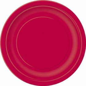 "Ruby Red 7"" Party Paper Plates 20pk"