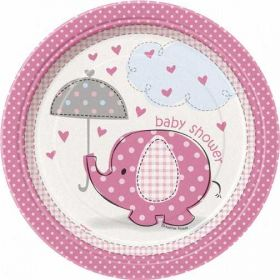 "Umbrellaphants Pink 7"" Baby Shower Plates 8pk"