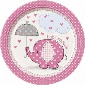 "Umbrellaphants Pink 7"" Baby Shower Plates 8pk"