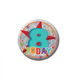Happy 8th Birthday Holographic Badge